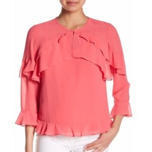 Nanette Lepore Coral Blouse with Ruffles